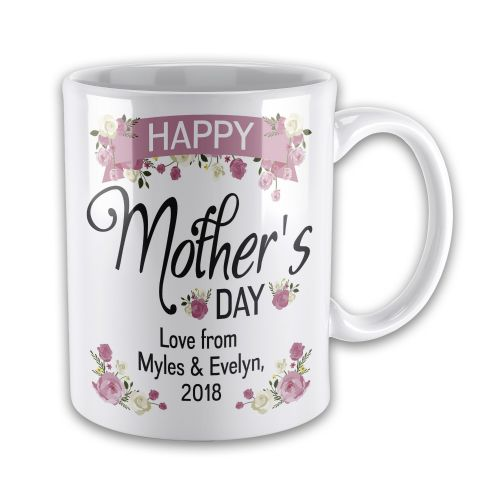 Personalised Happy Mother's Day Lovely Floral Novelty Gift Mug